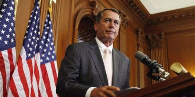 House Republican Leader John Boehner speaks at a ceremony June 16 on Capitol Hill in Washington. (AP Photo)