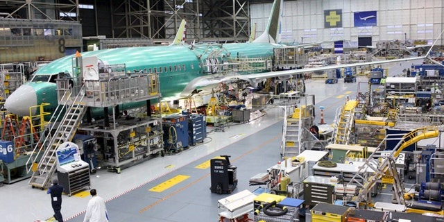 A Boeing 737 MAX plane is seen during a media tour of the Boeing plant in Renton, Washington, U.S. December 7, 2015.