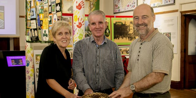 Left to right - Cavan County Museum Curator Savina Donohoe, Farmer Jack Conway, Assistant Keeper at the National Museum of Ireland Andy Halpin (Cavan County Museum/Copper Tree Photography).