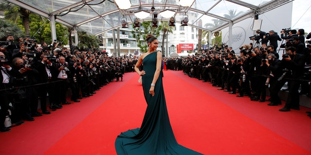 Deepika Padukone poses at the 70th Cannes Film Festival.