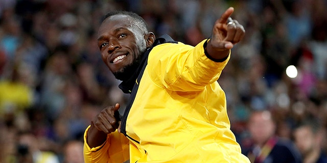 Usain Bolt of Jamaica after his final race at the World Athletics Championships in London, August 13, 2017.