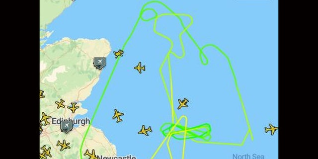 Flight path of RAF fighter jets intercepting the Russian bombers.
