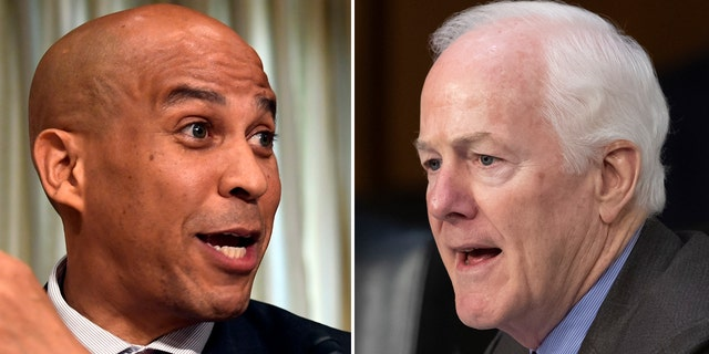 "U.S. Sen. Cory Booker, D-N.J., left, has been guilty of using ""superheated rhetoric,"" according to U.S. Sen. John Cornyn, R-Texas."