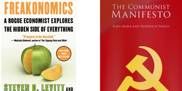 'Freakonomincs' and 'The Communist Manifesto' are two of the controversial books chosen for college summer reading options. (Amazon)