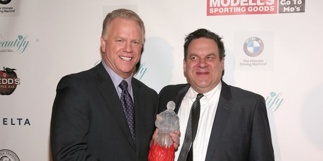 Television commentator and former professional football player Boomer Esiason, left, and actor Jeff Garlin attend the Friars Club Roast Honoring Boomer Esiason on Thursday, Jan. 30, 2014 in New York. (Photo by Andy Kropa/Invision/AP)