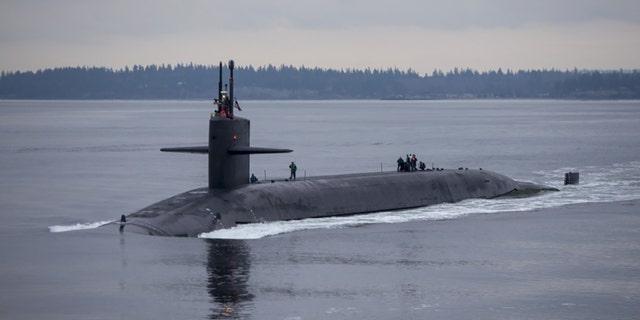 "The Ohio-class ballistic-missile submarine USS Pennsylvania returns to Naval Base Kitsap-Bangor in Washington State, Dec. 27, 2017.<br data-cke-eol=""1"">"