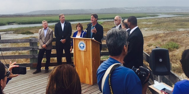 Imperial Beach Mayor Serge Dedina holds a press conference to announce the city plans legal action to stop the raw sewage and toxic chemicals from coming over the border from Mexico.