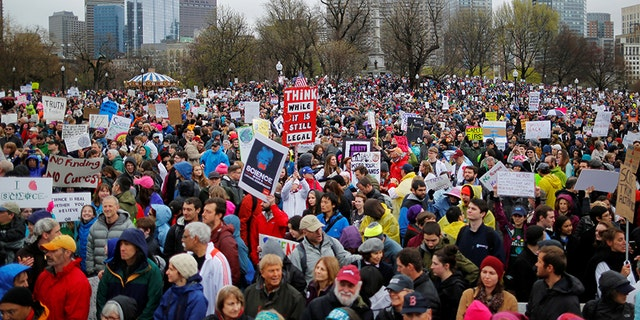 April 22, 2017: Demonstrators gather for the March for Science rally on Boston Common. Boston granted permission for an event this weekend that organizers are calling a free speech rally, but some people fear it is actually a white nationalist rally similar to the one that erupted in violence in Charlottesville.