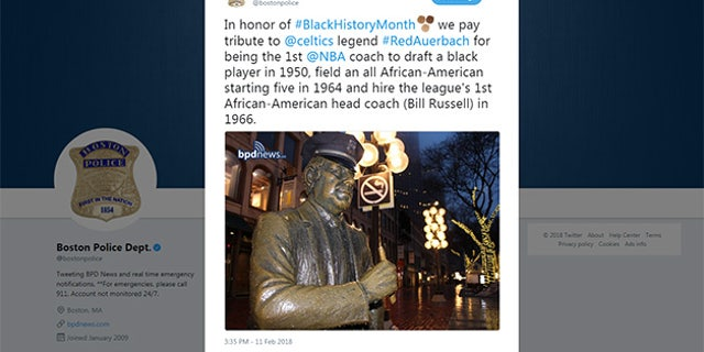 Boston PD's since-deleted tweet on Black History Month.