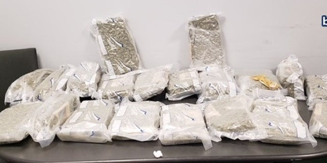 Massachusetts police recovered a package of what appeared to be 20 bags of marijuana.