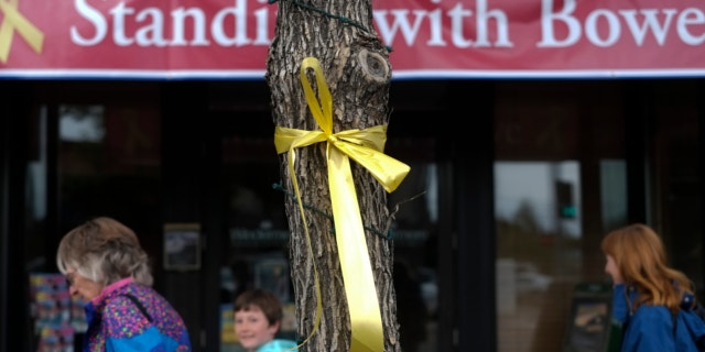 June 21, 2013: A yellow ribbon honoring captive U.S. Army Sgt. Bowe Bergdahl is tied to a tree in Hailey, Idaho.