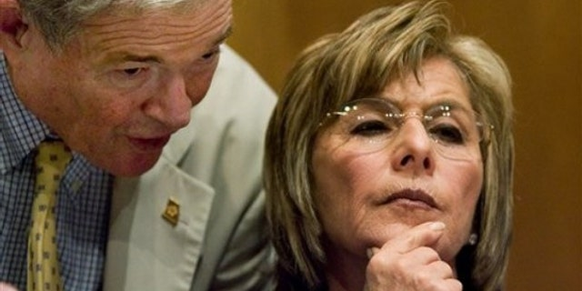 Sen. Barbara Boxer is shown here, alongside Sen. Kit Bond, at a committee hearing on Capitol Hill July 21. (AP Photo)