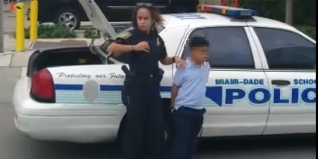 A 7-year-old boy is taken from school after allegedly punching a teacher.