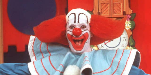 Larry Harmon performs as Bozo The Clown in this undated photo. Bozo was born 50 years ago, and is now recognized as the world's most famous clown. Harmon bought the rights to the Bozo character after taking over as the voice of Bozo on children's records in the late 1940s. (AP Photo/HO)