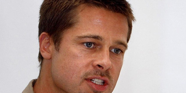 Brad Pitt speaks at a news conference in New Orleans in 2005.
