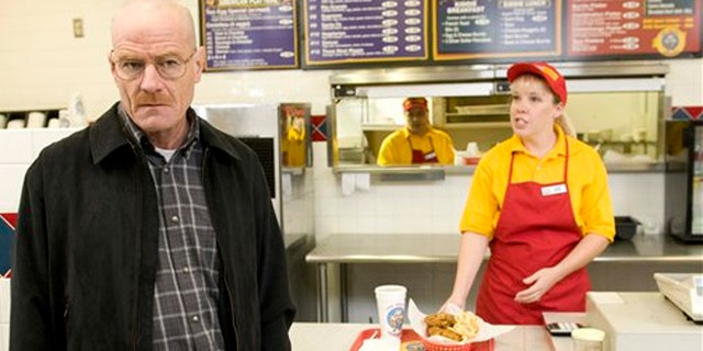 """Bryan Cranston as Walter White at the fictional restaurant """"Los Pollos Hermanos"""" in a scene from season 2 of the AMC series """"Breaking Bad."""""""