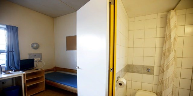 General view of a cell inside Skien prison. (REUTERS)