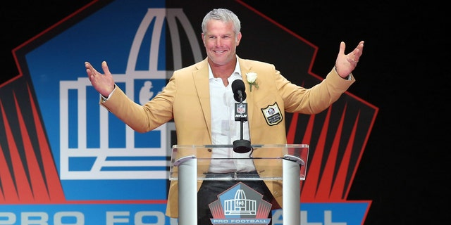 Former Green Bay Packers quarterback Brett Favre reacts during his acceptance speech during the 2016 NFL Hall of Fame enshrinement at Tom Benson Hall of Fame Stadium, August 2016.