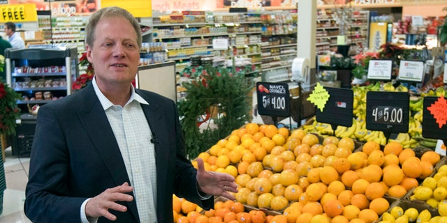 In this Dec. 6, 2016 file photo, Brian Wansink speaks during an interview in the produce section of a supermarket in Ithaca, N.Y. On Friday, Sept. 21, 2018, the prominent food researcher is defending his work a day after Cornell University said he engaged in academic misconduct and was removed from all teaching and research positions.