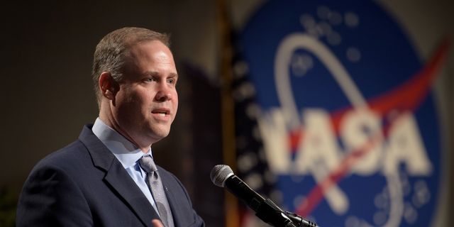 NASA Administrator Jim Bridenstine delivers remarks at the Johnson Space Center in Houston  on Aug. 2, 2018.