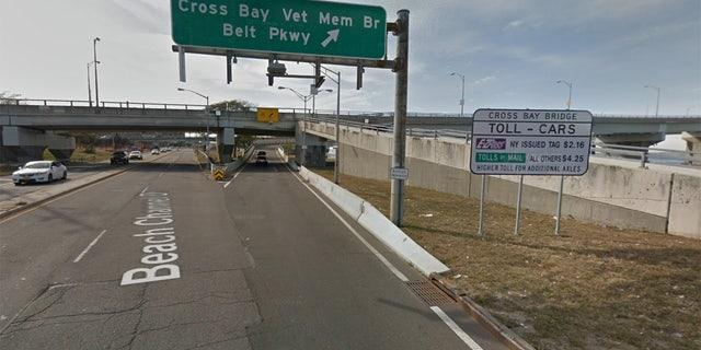 The entrance to the Cross Bay Bridge