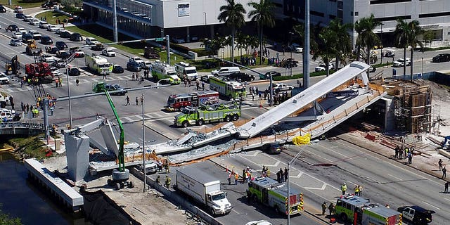 March 15, 2018: The collapsed pedestrian bridge at Florida International University in the Miami area.