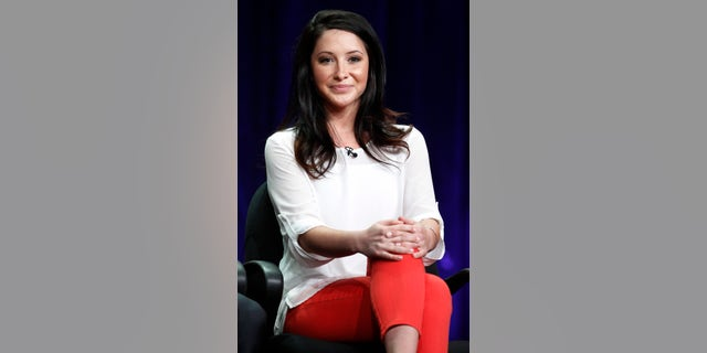 """July 27, 2012. Bristol Palin, one of the cast members of the reality series """"Dancing with the Stars: All Stars"""" speaks during a panel discussion at the Disney-ABC Television Group portion of the Television Critics Association Summer press tour in Beverly Hills, California."""