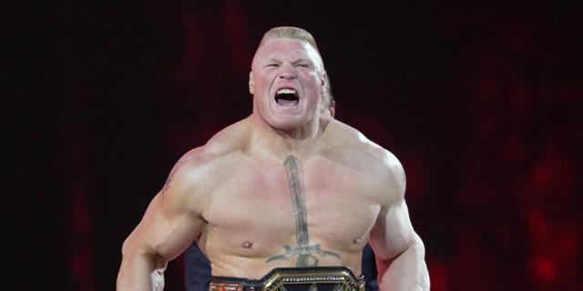 Brock Lesnar makes his entrance at Wrestlemania XXXI in Santa Clara, Calif.