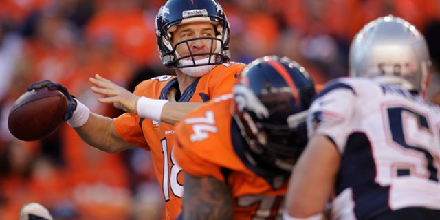Jan. 19, 2014: Denver Broncos quarterback Peyton Manning (18) passes during the second half of the AFC Championship Game against the New England Patriots in Denver.