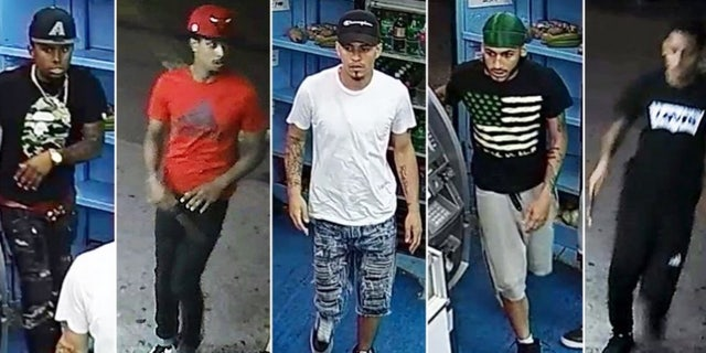 """The NYPD released images of a group of five males last week believed to be connected to Lesandro """"Junior"""" Guzman-Feliz's """"brutal"""" stabbing murder."""