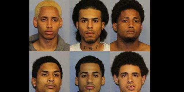 Clockwise from top left: Manuel Rivera, Jose Taverez, Santiago Rodriguez, Jose Muniz, Danel Fernandez, Joniki Martinez, who are all facing charges in the killing of Lesandro Guzman-Feliz.