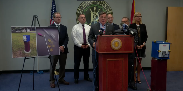 Local Suffolk county officials hold a press conference in the wake of the appearance of three potential crack pipe vending machines.