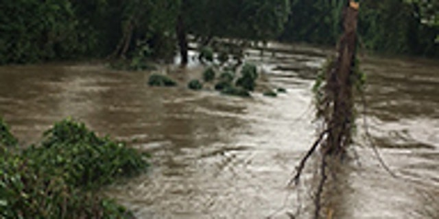 Buffalo Bayou creek was on the verge of overflowing its banks Tuesday evening