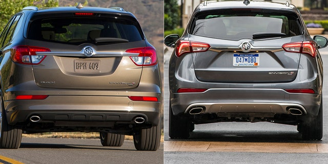 The 2018 Buick Envision had the brand's name on its tailgate, while the 2019 version does not.