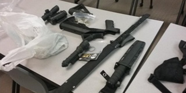 Weapon-related items seized from Jerron Smith under a new Florida gun law.
