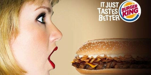 """An ad agency in Singapore came up with a Burger King ad in 2009 to promote the chain's """"BK Super Seven Incher"""" burger."""