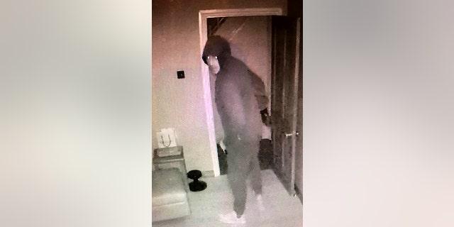 The burglar was caught on camera via a CCTV app.