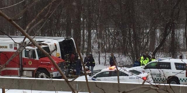 A local hospital in Connecticut was expecting about 30 patients after a bus flipped over.
