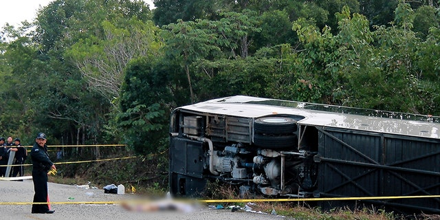 The bus carrying cruise ship passengers to the Mayan ruins at Chacchoben in eastern Mexico flipped over on the highway early Tuesday.