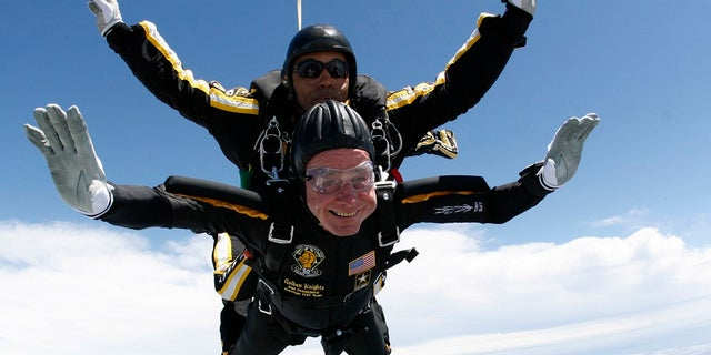Former President George H.W. Bush jumps out of an airplane for his 85th birthday in 2009.