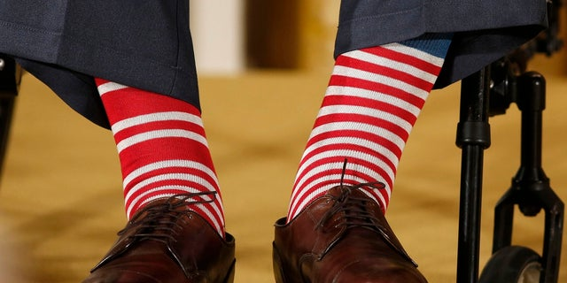 The socks of former President George H.W. Bush as seen at an event in the White House.
