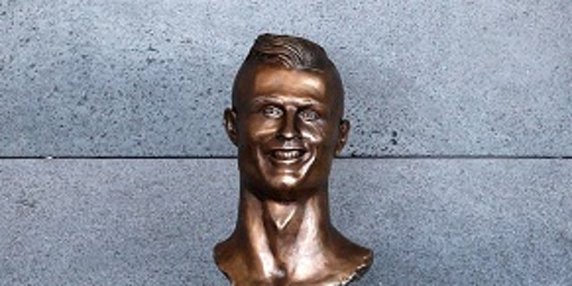 A bust of Cristiano Ronaldo is seen before the ceremony to rename Funchal Airport as Cristiano Ronaldo Airport in Funchal, Portugal March 29, 2017. REUTERS/Rafael Marchante - RC128C2E1260