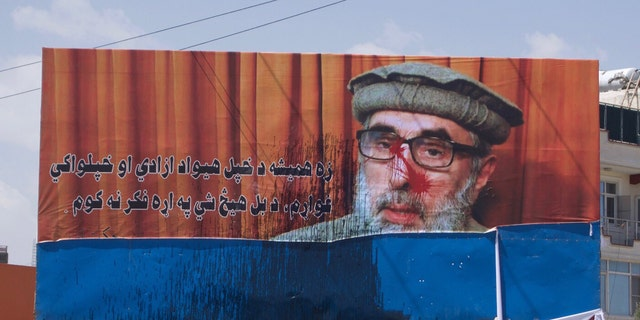 Defaced billboard of Gulbuddin Hekmatyar