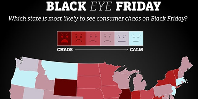 """Decluttr's """"Black Eye Friday"""" map, ranking states from """"chaos"""" to """"calm."""""""