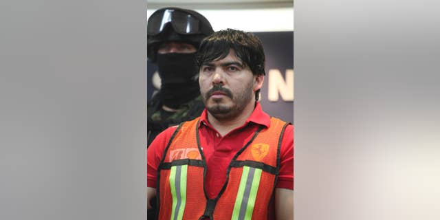 """FILE - In this May 13, 2011 file photo, Martin Beltran Coronel, alias """"El Aguila,"""" is presented to the media in Mexico City.  A Mexican Federal Judiciary Council said late Wednesday, Sept. 24, 2014, the court has ordered the release of Beltran Coronel, the nephew of deceased Sinaloa drug cartel leader Ignacio Coronel, because of procedural violations, an embarrassment for officials who had portrayed the man as his uncle's likely successor. Beltran Coronel had been charged with organized crime and the other four faced money laundering charges. (AP Photo/Alexandre Meneghini, File)"""
