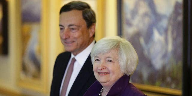 FILE - In this Aug. 22, 2014 file photo, Federal Reserve Chair Janet Yellen, (AP Photo/John Locher, file)