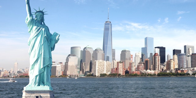 Empire State Building, World Trade Center, Statue of Liberty in New York City