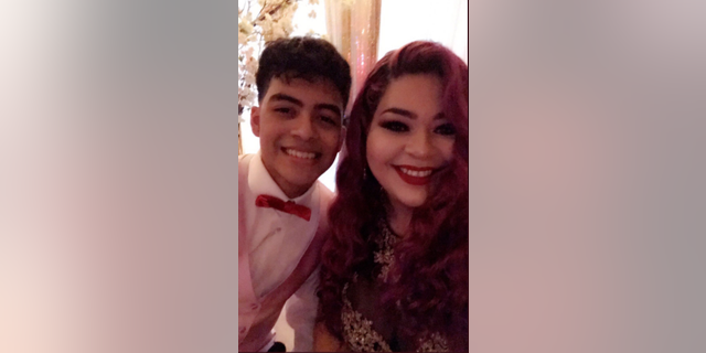 Joe and his mom Vanessa at the prom on Friday night.