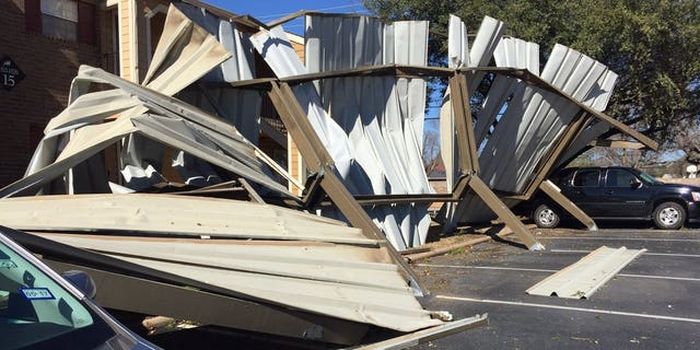 A mangled carport in Euless, Texas.