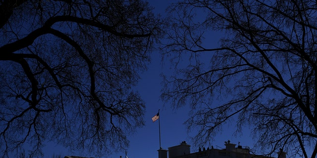 A U.S. flag flies at the White House in Washington, January 2016.